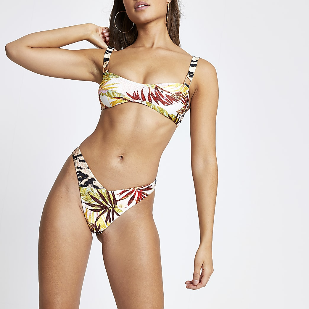 Bas de bikini imprimé feuillage crème à devant en V