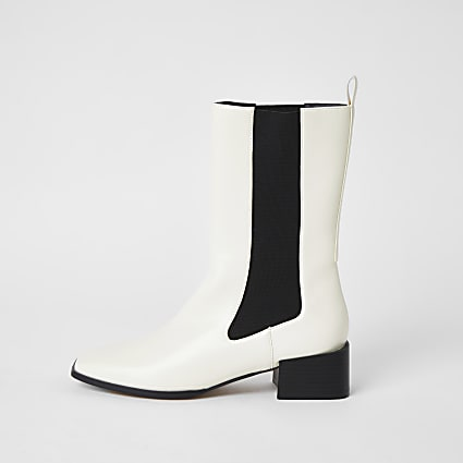 Cream leather gusset boots