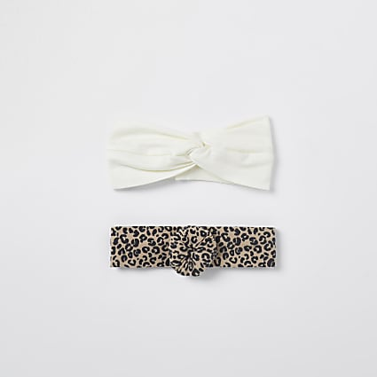 Cream leopard headbands 2 pack