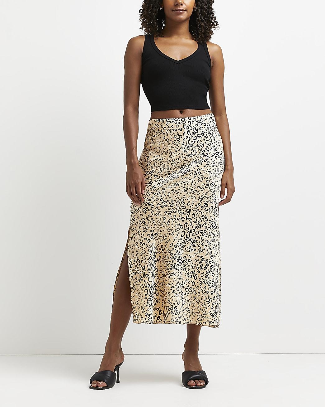 Cream leopard print bias cut midi skirt