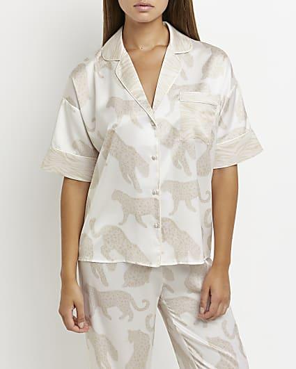Cream leopard print pyjama shirt