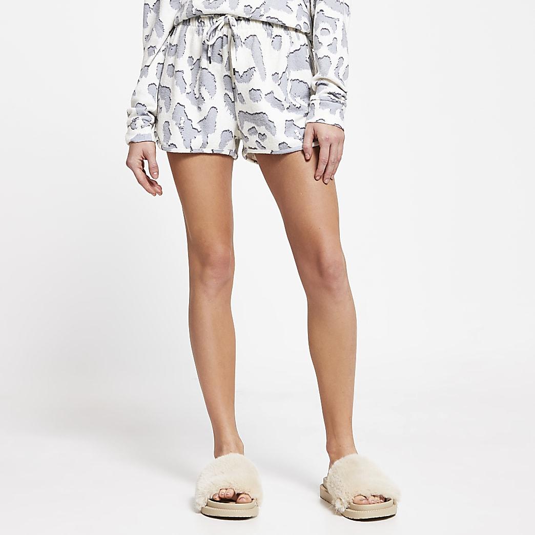 Cream leopard print pyjama shorts