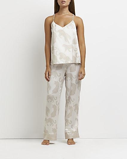 Cream leopard print pyjama trousers