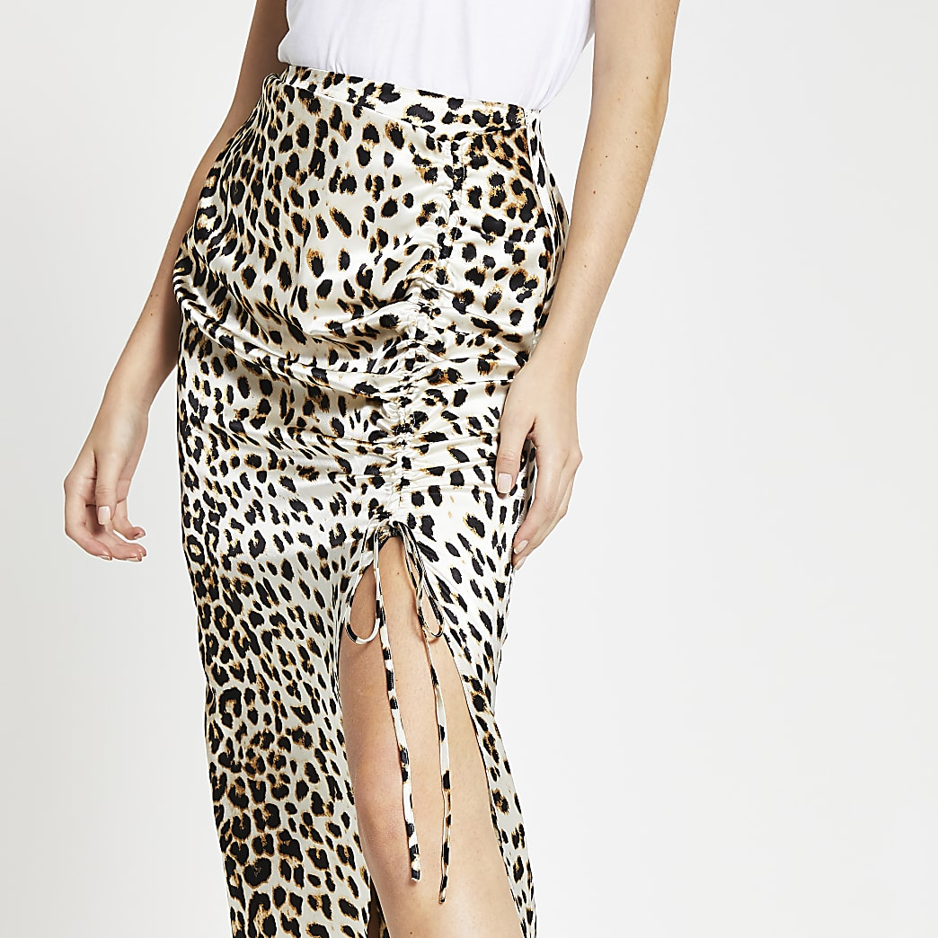 Cream leopard print satin ruched midi skirt