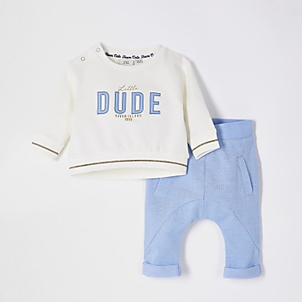 Cream 'Little Dude' applique sweat outfit