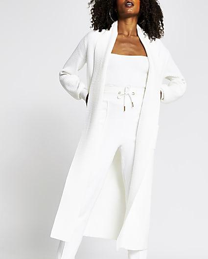 Cream long line balloon sleeve cardigan