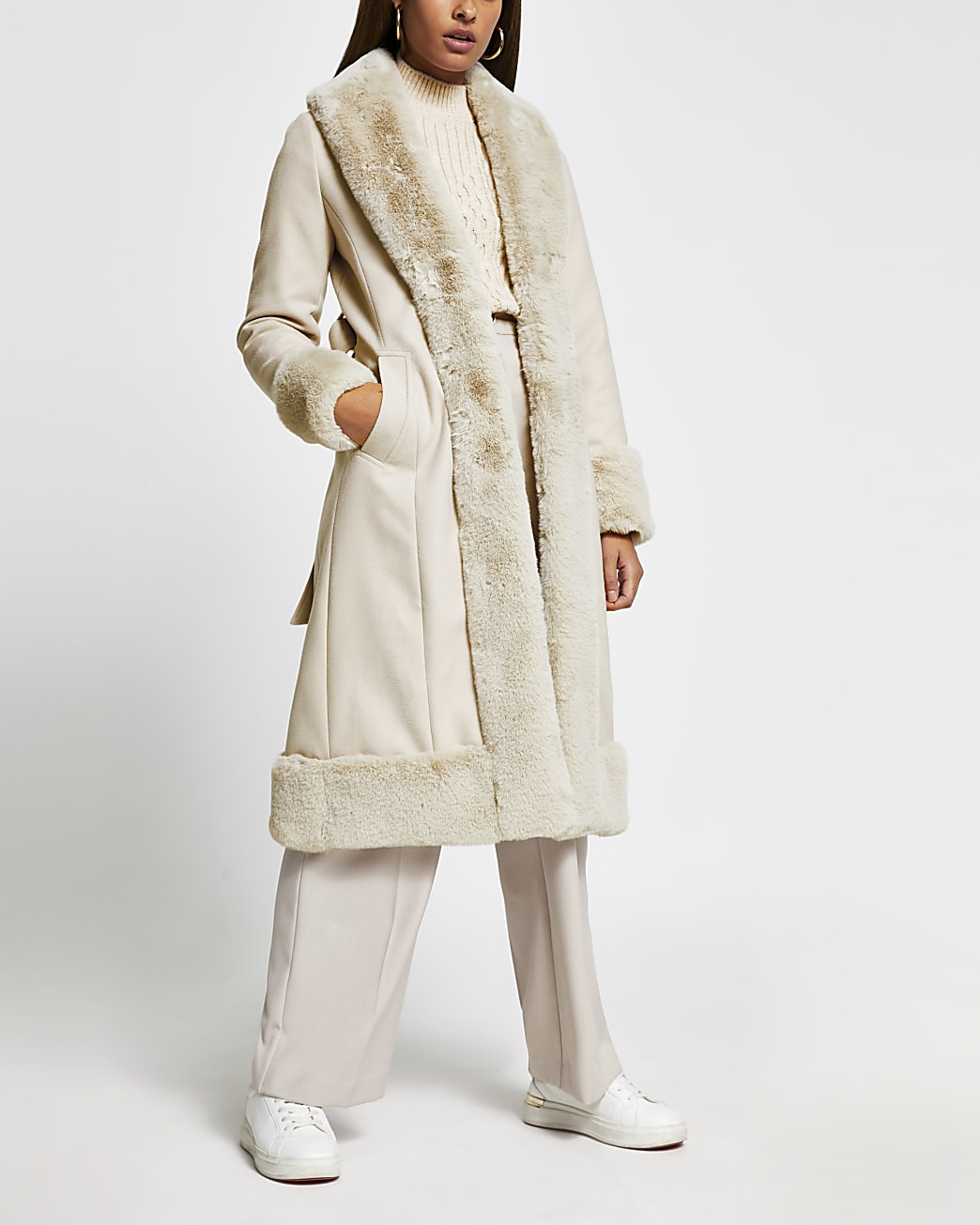 Cream long line faux fur hem robe coat