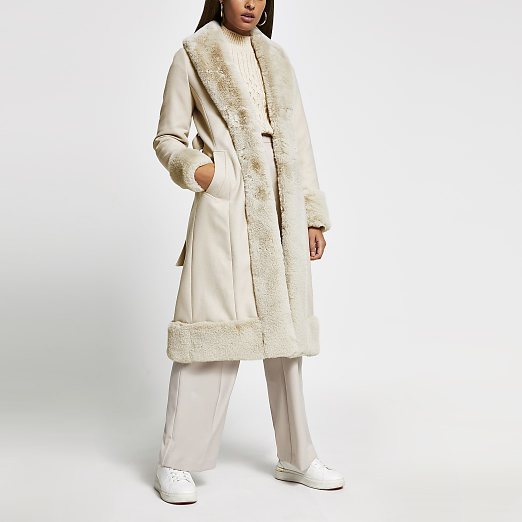 Cream long line faux fur hem robe coat