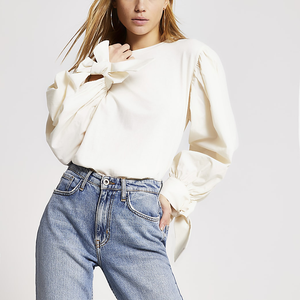 Cream long puff poplin sleeve T-shirt