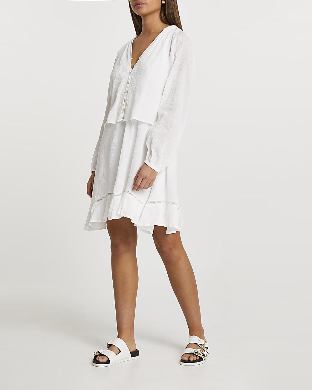 Cream long sleeve 2 in 1 mini dress