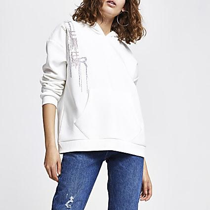 Cream long sleeve 'Atelier' hoodie