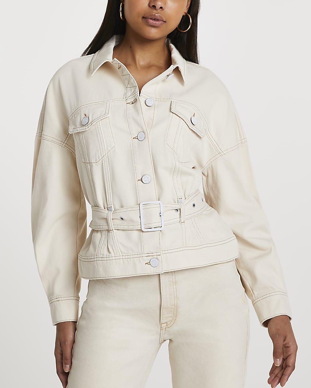 Cream long sleeve belted peplum jacket