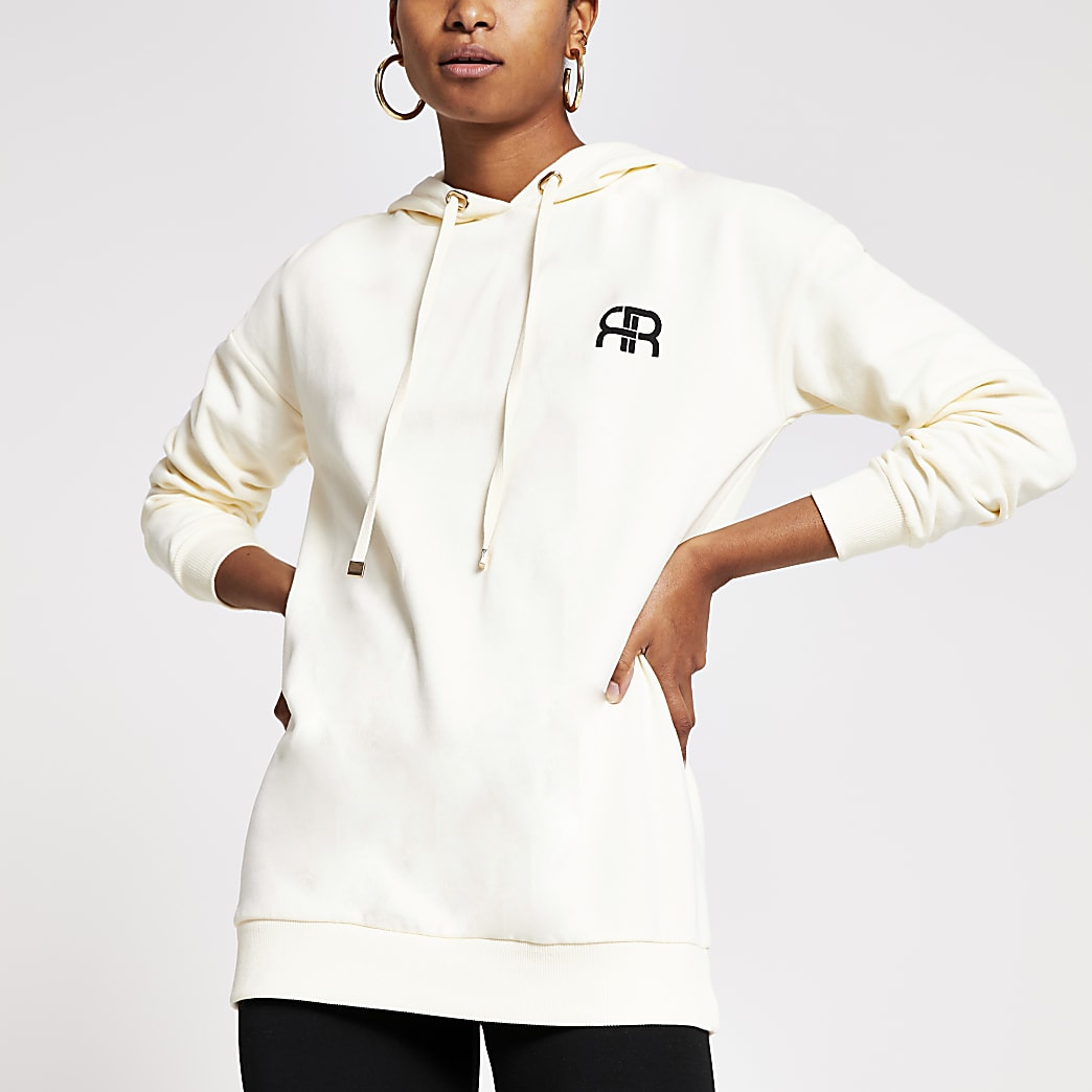 Cream long sleeve branded RR hoodie