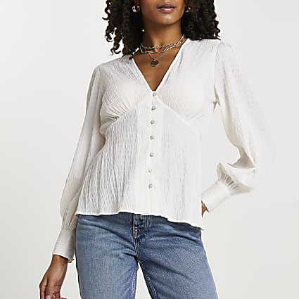 Cream long sleeve crinkle tea top