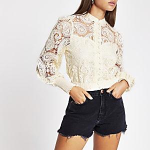 Cream long sleeve crochet crop top
