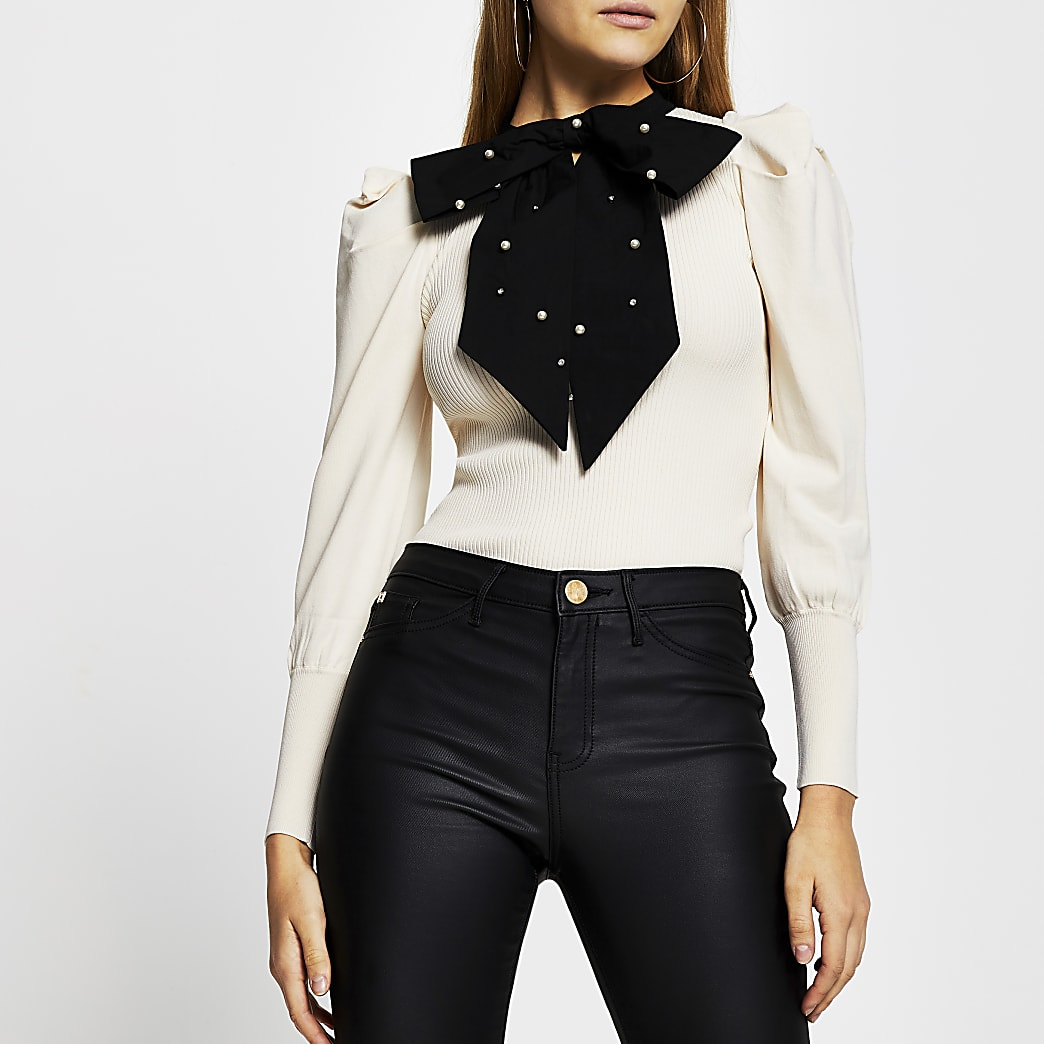Cream long sleeve embellished bow top