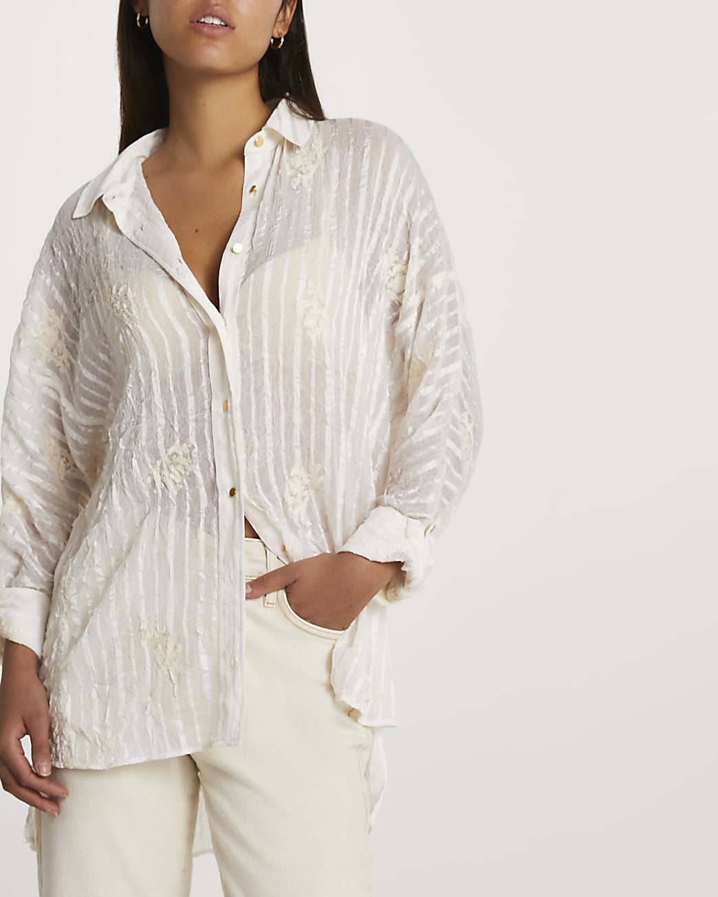 Cream long sleeve embroidered shirt