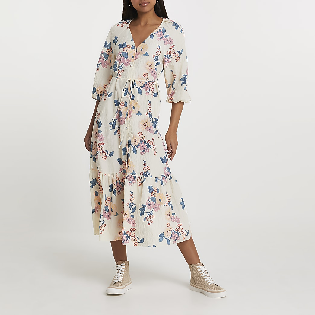 Cream long sleeve floral smock dress