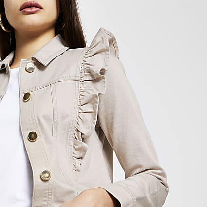 Cream long sleeve frill denim jacket