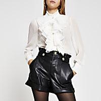 Cream long sleeve frill neck blouse