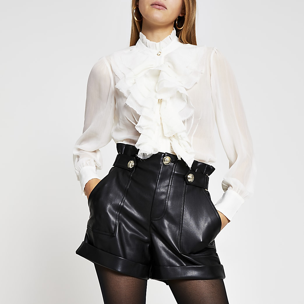 Cream long sleeve frill neck blouse