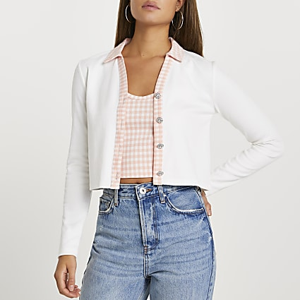 Cream long sleeve gingham cardi vest set