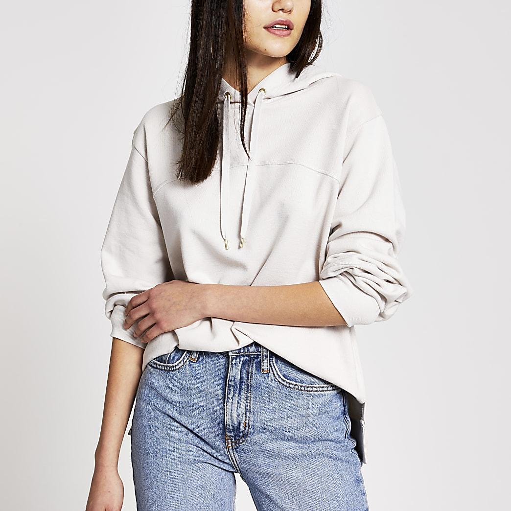 Cream long sleeve loose fit hoodie