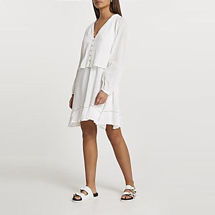 Cream long sleeve mini dress