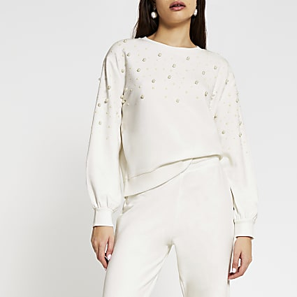 Cream long sleeve pearl detail sweatshirt