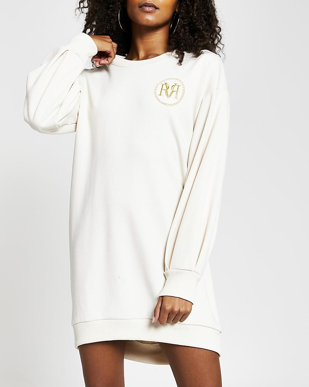 Cream long sleeve RI logo mini jumper dress