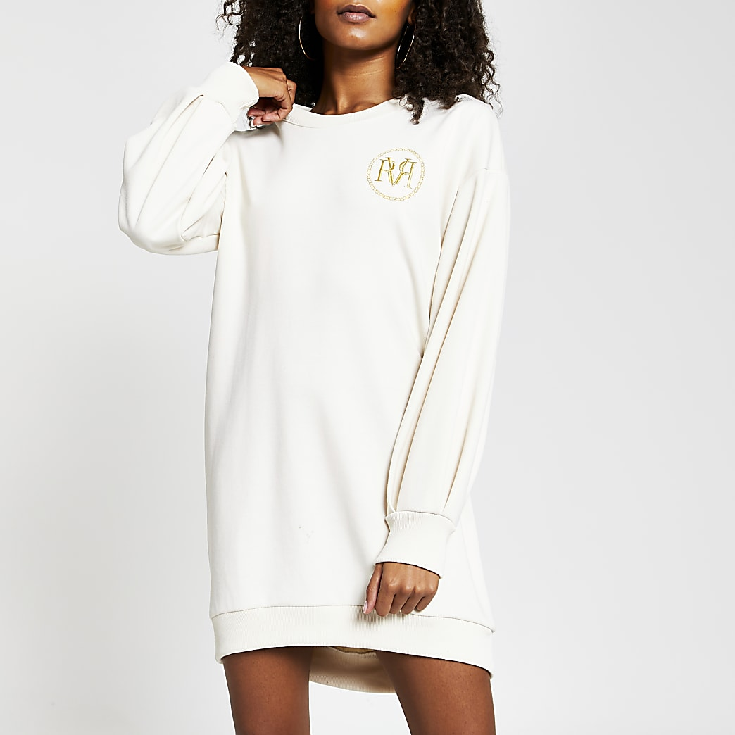 Cream long sleeve RI logo mini jumper dress