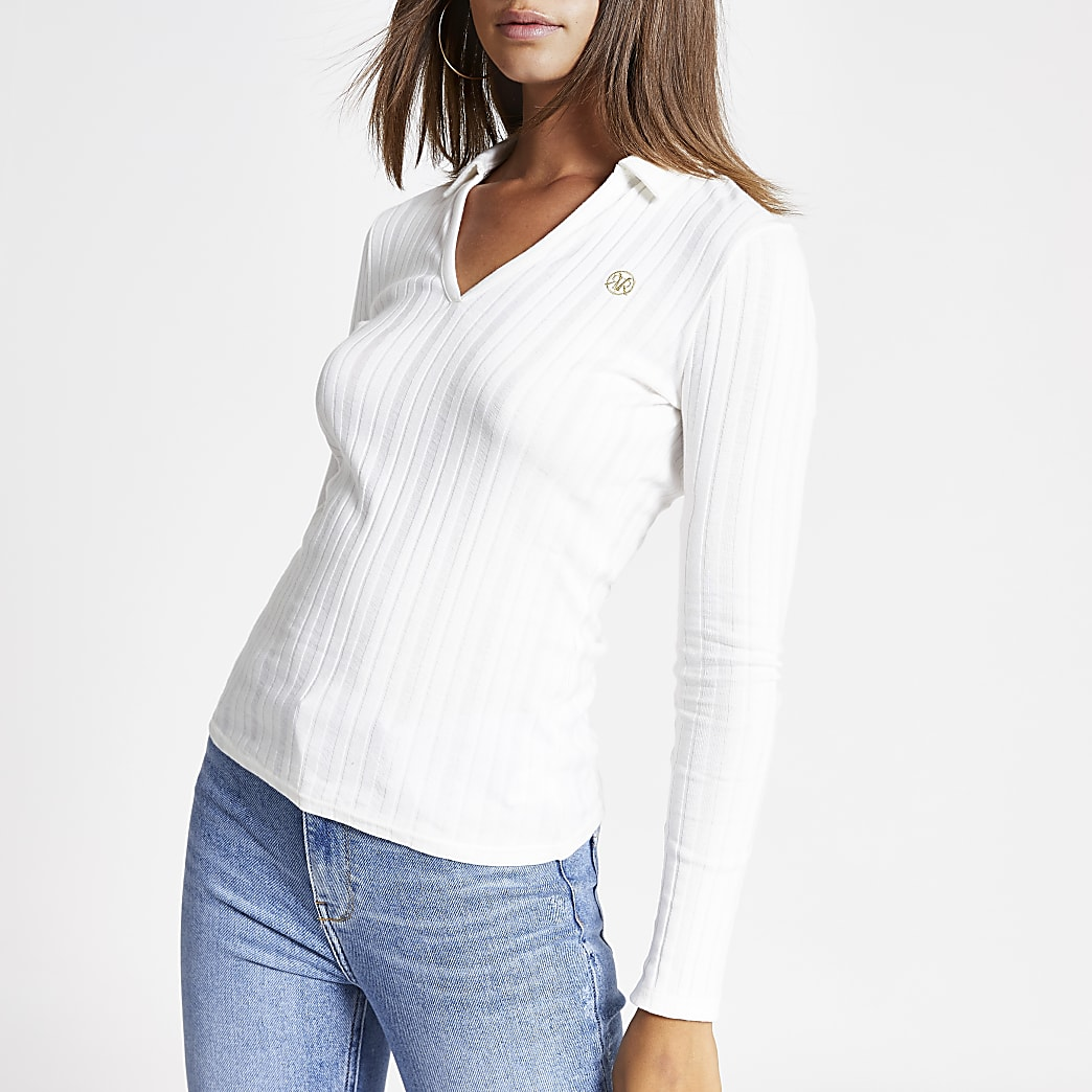 Cream long sleeve ribbed collar fitted top