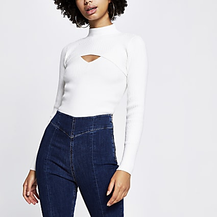 Cream Long Sleeve Roll Neck Knitted Top