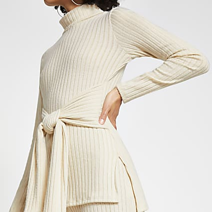 Cream long sleeve roll neck tie waist tunic