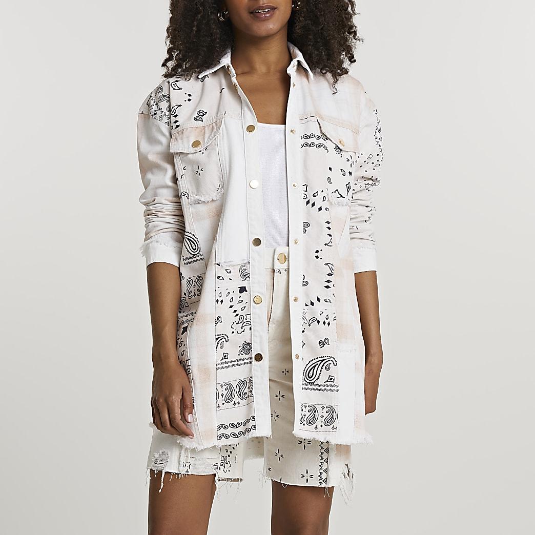 Cream long sleeve scarf print shirt