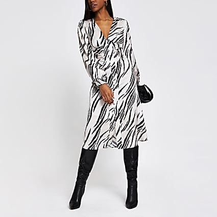 Cream long sleeve shoulder pad midi dress