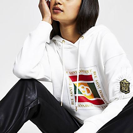 Cream long sleeve split hem graphic hoodie