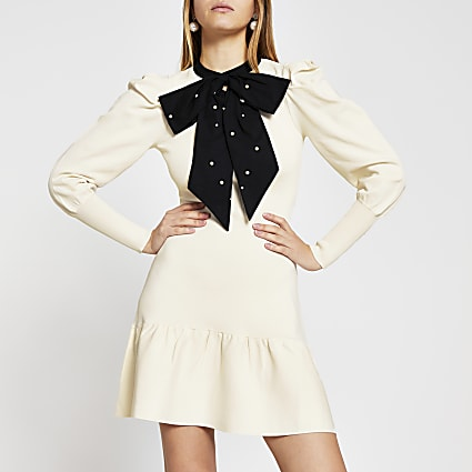 Cream Long Sleeve taffeta bow mini dress