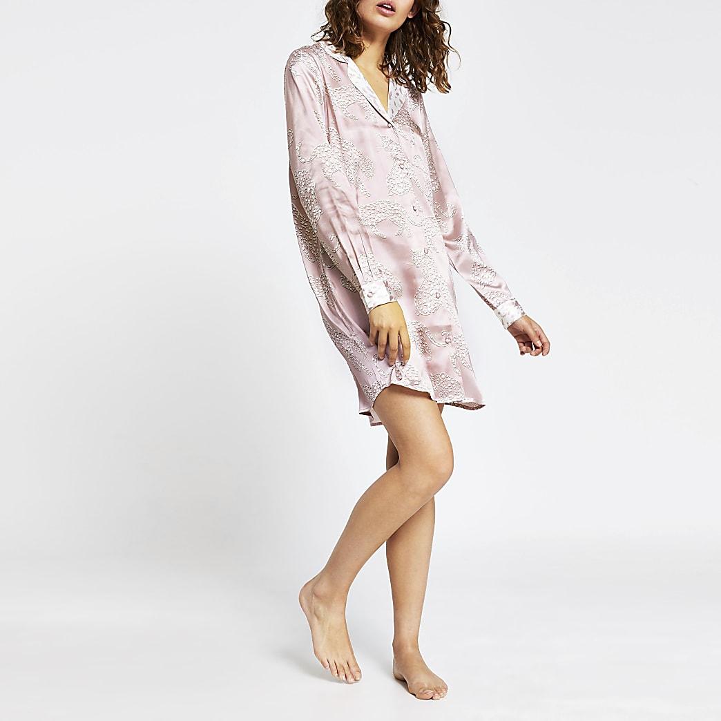 Cream long sleeve tiger print shirt dress