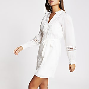 Robe-chemise victoriana à manches longues crème