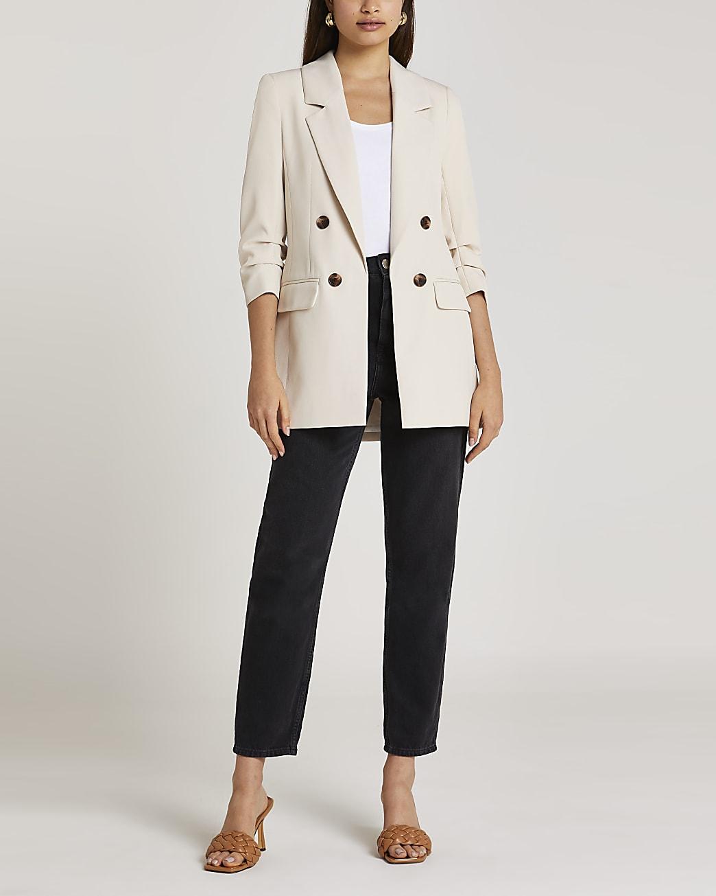 Cream longline blazer