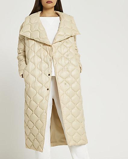 Cream longline quilted coat