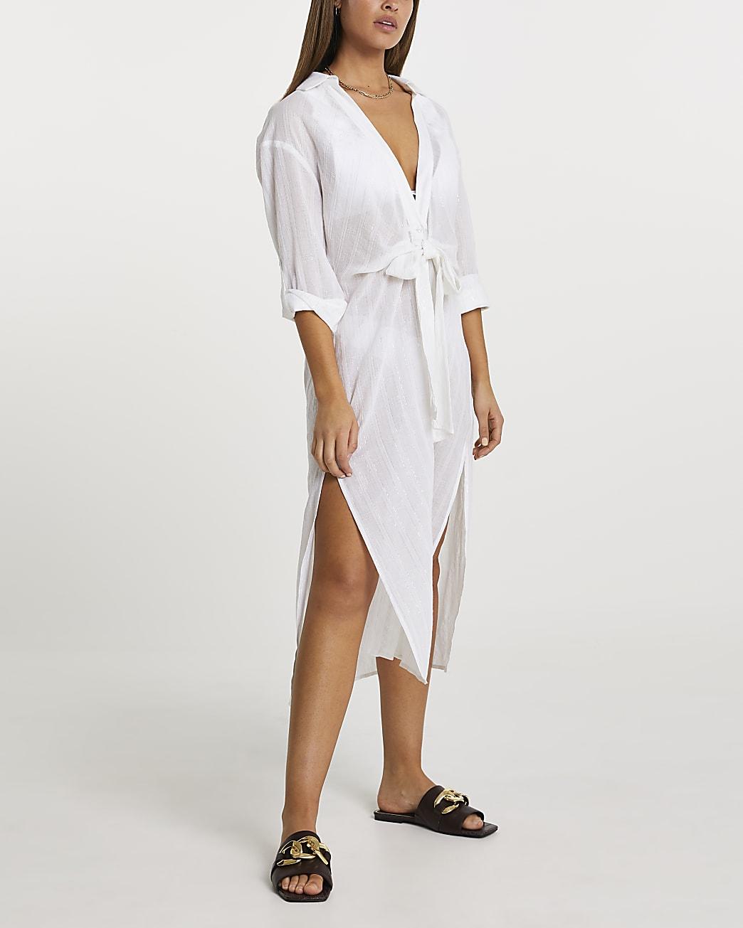 Cream longline tie shirt dress cover up