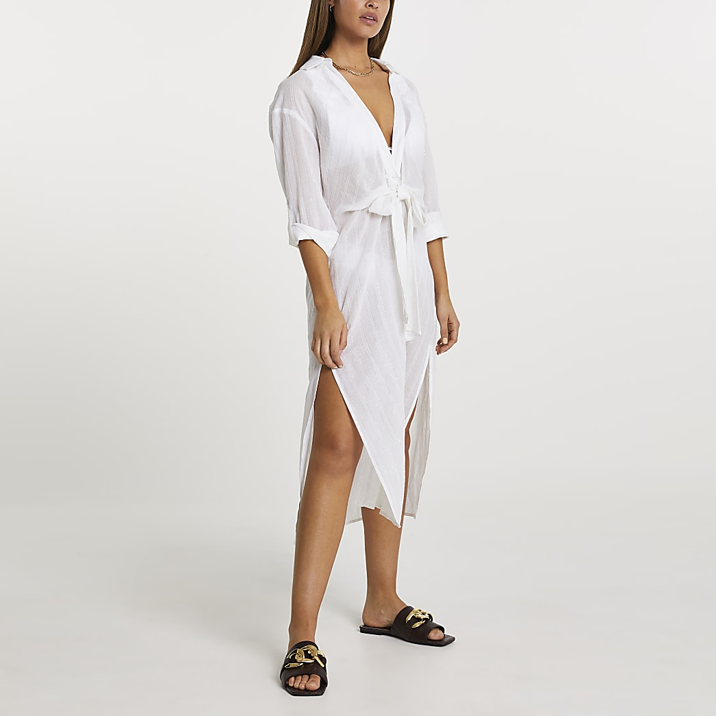 Cream longline tie shirt dress cover up