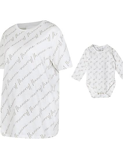 Cream maternity t-shirt and babygrow set