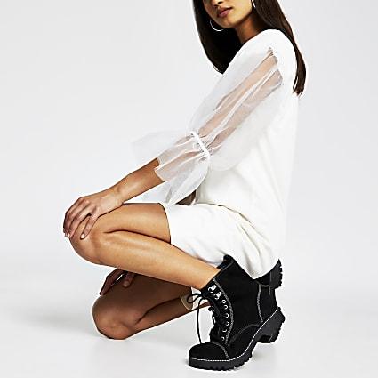 Cream mesh Sleeve Sweater dress