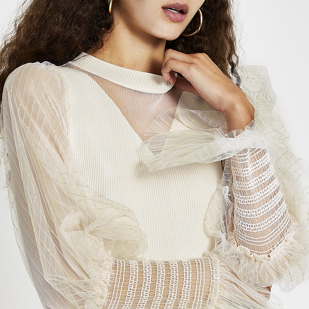 Cream metallic long sleeve ruffle top