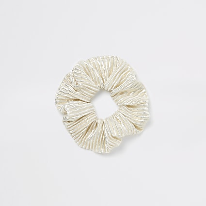 Cream metallic plisse scrunchie hairband