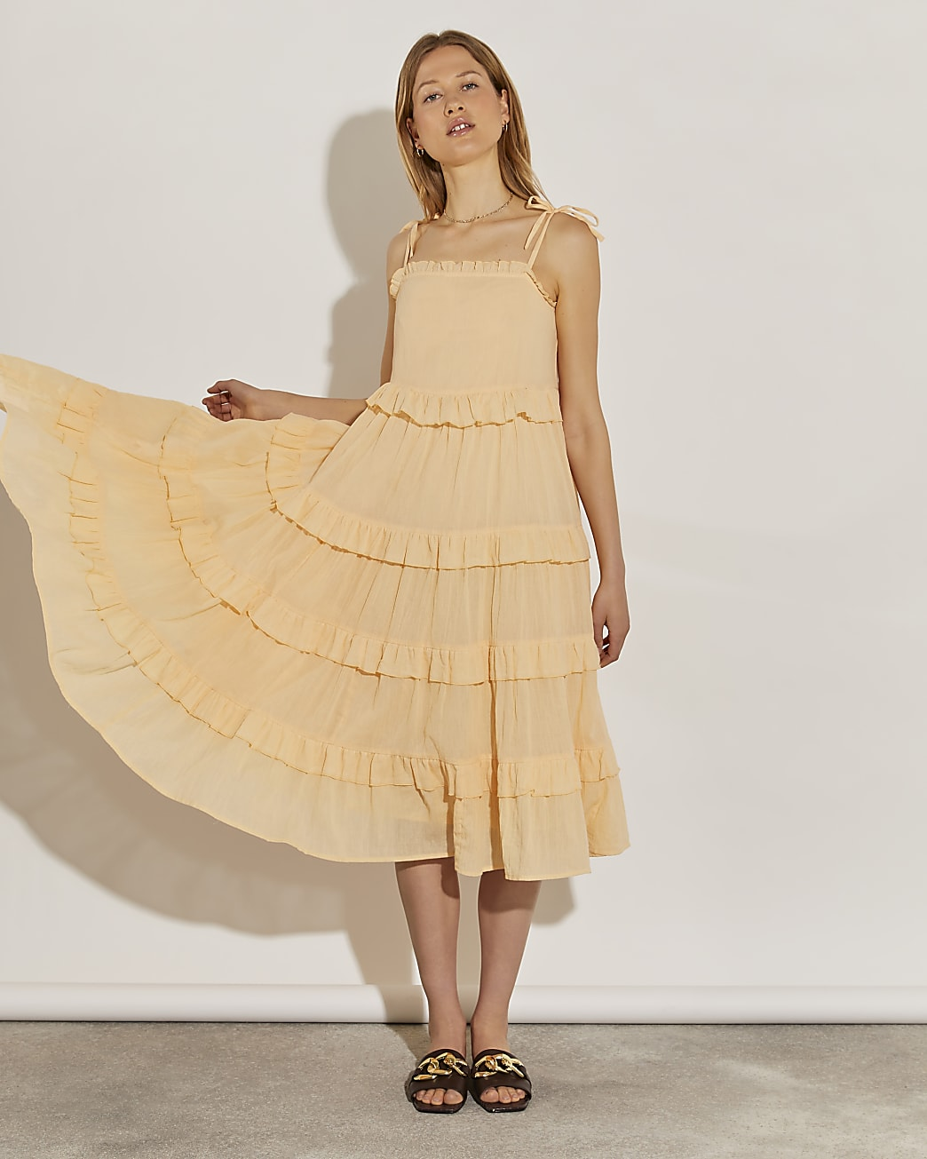 Cream midaxi ruffle beach dress