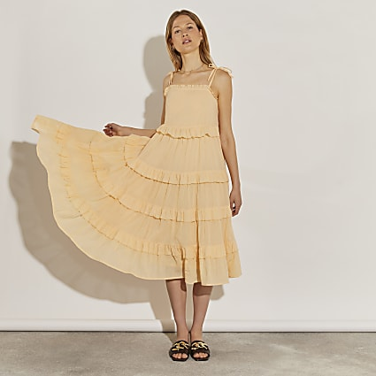 Cream midaxi ruffle tiered cover up dress
